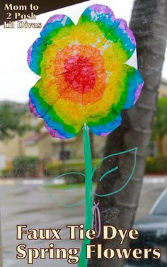 Faux Tie Dye Flowers - we used ours to make a fab Spring Window Display #Momto2PoshLilDivas