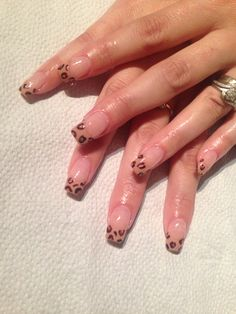 Acrylic nail enhancements with freehand leopard French  cnd shellac