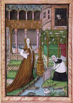 Histoire d'amour sans paroles (f°1v) -- Histoire de Jean III de Brosse et de sa femme Louise de Laval [Ms 388], Tours (France), 1475.-- Demoiselle (Louise?) et sa servante dans le jardin intérieur du palais ; un homme les observe. -- Mariage de Louis de Laval et de Jean III de Brosse en 1468.