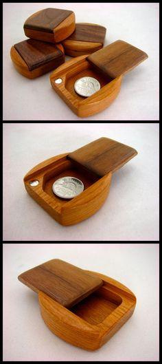 Guitar Pick Box, Solid Walnut Top/Solid Cherry Bottom Wooden Pill Box, Mini Box, Paul Szewc www.etsy.com/shop/PaulSzewc
