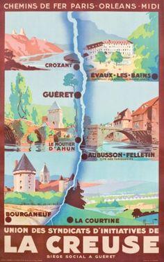 chemins de fer paris-orléans-midi - La Creuse - vers 1930 - illustration de Pierre Commarmond -