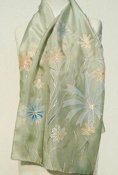 Silk scarf gray sage peach flowers hand painted pastel scarf