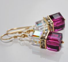 Ruby Pink Gold Crystal EarringsGold  Bridal by ssjewelrycreations, $35.00