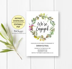 Rustic engagement invitations printable engagement party   Etsy