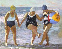 Coastal Water Dance - Big Ladies on the Beach Artwork