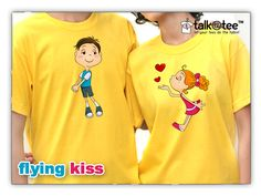 Let your charm captivate your loved-one as you blow your flying kisses and send your love to your beloved with this cute Flying Kiss couple shirt. Couple T Shirt Design, Couple Cartoon, Couple Shirts, Shirt Designs, Kiss, Let It Be, Cute, Clothes, Ideas Party