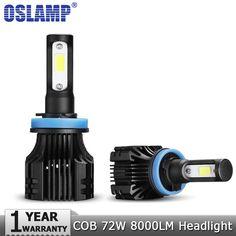 sale oslamp 72w cob led car headlight bulbs h4 h7 h11 h1 h3 9005 9006 9007 hi lo beam 8000lm 6500k auto #led #fog #lights