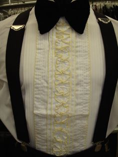 Vintage 1970's Yellow  White Center Ruffles Tuxedo Shirt Dickie - Unisex