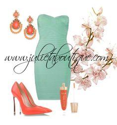 Aqua Mint Blue strapless bandage dress best worn with a tan.  Find it here: www.julietaboutique.com