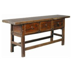 3 Drawer Reclaimed Wood Butcher Table / Server - Brown by Furniture Classics. Save 13 Off!. $1237.50. 3 drawers with metal ring pulls. Highly-distressed medium brown stained wood. Crafted from antique frames and reclaimed wood. Rough hewn reclaimed elm butcher table. Dimensions: 78W x 20D x 33.5H inches. Hand rubbed character eeks from every pore of the 3 Drawer Reclaimed Wood Butcher Table / Server - Brown. Square legs, solid braces and a thick, heavy top make the table like a good peas...