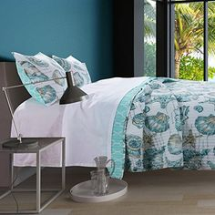 Coastal Bedding Beach Theme 3 Piece Quilt Shams Set Full/Queen size with Seashells Starfish in Aqua Blue Teal color to achieve a luxury Seaside beach theme bedroom decor. Beach Theme Bedding, Coastal Bedding, Seashells, Starfish, Bedroom Themes, Bedroom Decor, Seaside Bedroom, Seashore Decor, Seaside Beach