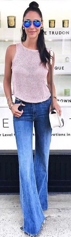 #summer #hot #weather #outfits |  Pink Knit + Flares