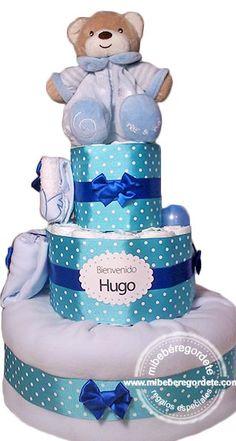 Tarta de Pañales en tonos azules Mi Amiguito