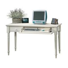 The Sauder Harbor View Collection 53 in. Antiqued White Writing Desk with Slide Out Keyboard Shelf includes solid wood legs. It provides an attractive workspace for your home computing needs. Large Home Office Furniture, Office Furniture Stores, Smart Furniture, Home Office Desks, Antique Writing Desk, Wood Writing Desk, Sauder Woodworking, Woodworking Furniture, White Desks