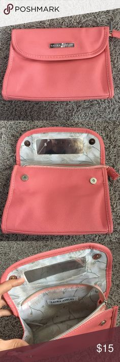Laura Ashley Makeup Bag Pink Faux leather make up bag. Brand new without tags! Willing to negotiate Laura Ashley Bags Cosmetic Bags & Cases