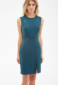 BRIDESMAID | Might not be a dark enough teal  | Forever 21 Vented Cutout Sheath Dress $22.90