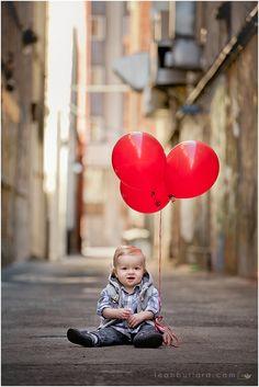 Urban kid photography, city kid, urban child photography, alley way, red balloons, 1-yr portrait  www.leahbullard.com