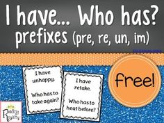 I have... who has? Is a great game to practice a variety of skills! This version focuses on prefixes: pre, re, un, and im. This game contains 36 cards.There are no specific start or end cards. My students made this suggestion to me. They didn't like being dealt the start or end cards because they felt like they didn't get a chance to play!