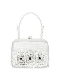 NANCY GONZALEZ CROCODILE SMALL FLORAL FRAME BAG, WHITE. #nancygonzalez #bags #hand bags #suede #lining #