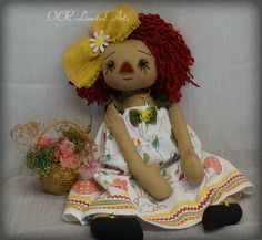 Primitive Folk Art Raggedy PASCALE Ann wicker basket of flowers big doll Easter spring decor ooak cute Handmade bunny collectible by OCRLimitedArts on Etsy