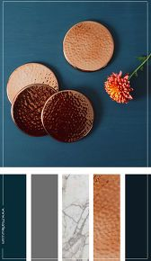 Copper interior to make it work, home decor, lighting, wall decoration You are in the right place fo Home Decor Colors, Colorful Decor, House Colors, Colorful Interiors, Bedroom Colors, Living Room Decor Colors, Blue Interiors, Warm Home Decor, Blue Home Decor