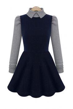 Color Block Knit Peter Pan Collar Long Sleeves Dress...