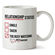 Greys Anatomy Mug Funny Relationship Status ** Final call for this special discount  : Free Home and Kitchen