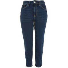 TopShop Petite Mom Jeans ($75) ❤ liked on Polyvore featuring jeans, mid stone, petite jeans, petite blue jeans, blue jeans and topshop jeans
