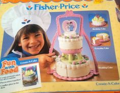 Vintage Fisher Price Fun With Food Create A Cake In Original Box Toy. 90s Childhood, My Childhood Memories, Fisher Price Baby Toys, Vintage Toys For Sale, Create A Cake, Cake Pricing, Old School Toys, Vintage Fisher Price, Play Food