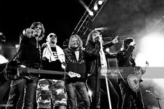 John Leven, Ian Haugland, Mic Michaeli, Joey Tempest and John Norum of Europe perform on stage at Bloodstock Festival on August 16, 2009 in Derby, UK.