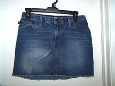 Abercrombie & Fitch Denim Blue Jean Frayed Hem Mini Skirt Size 2 #AbercrombieFitch #Mini