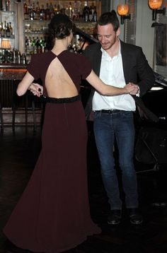 """Keira Knightley and Michael Fassbender dancing at a party for """"A Dangerous Method"""""""