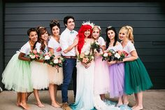 Little Mermaid Wedding / Mermaid Bridesmaids / Disney / Blue Dip Dyed Dress