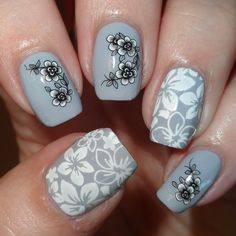 Chic Grey Mani #floral #wendystanbury #nails - bellashoot.com
