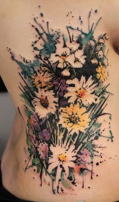 flower watercolor tattoos, back tattoos, white flower, tattoo images