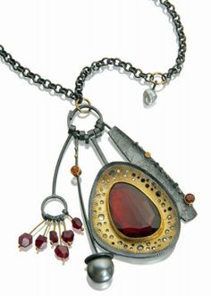 sydney lynch, I love her work so much (Garnet Cluster necklace; rose cut garnet, faceted garnets, red spinel beads, gray pearl & keshi pearl, 18k & 22k gold, oxidized sterling silver.)