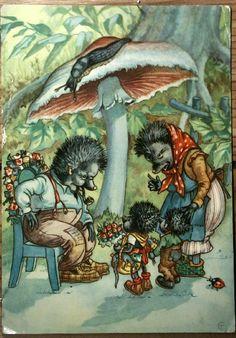 Hedgehogs! Vintage Christmas postcard from Sweden