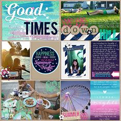 Project Life - Travel Album, Summer 2013 Seattle. Summer Nights, eating outside, locks, circle alpha, sunset, ferris wheel, word art, kraft background, pocket scrapbooking, multiple photos