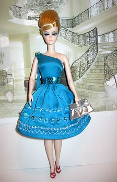 Single Shoulder Blue cocktail Dress: Helen's Doll Saga.