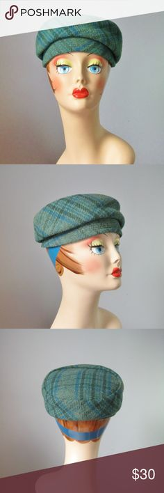 "Vintage 60s Mod Cap Blue Green Plaid wool Adorable little cap in blue green plaid wool from the 1960s. Lined Madcaps New York Paris  Perfect vintage condition  Circumference of inner hat band: 21 1/2""   Thanks for looking! #26619 Vintage Accessories Hats"