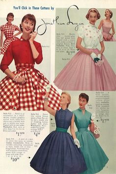 "1955 Lana Lobell catalog, ""Summer Symphony of Fashions,"" page 9 #1950s #fashion #vintage  WHY don't we still dress like this? So cute! I love these dressed I widh they wete still these prices sndnot around 80 dollard today"