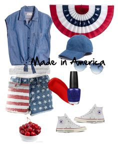"""Made in America"" by rebecca-rhein on Polyvore featuring Converse, Bullhead Denim Co., Madewell, Lipstick Queen, OPI and Christian Dior"
