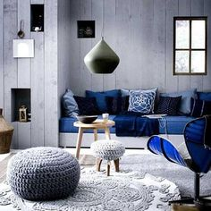 Lounge room colours- grey and blue