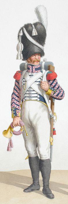 1818. Garde Royale. Infanterie. (3e Régiment), Cornet de Voltigeurs, Fifre de fusiliers.