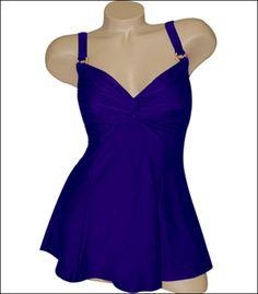 Carol Wior Oh So Sexy Solids One Piece Twist Swim Dress 93091 - Carol Wior Swimsuits and Swimwear 93091 $52.00