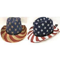5d7c7e249bab1 Kritzer Marketing from New York NY USA Assorted stars and stripes print cowboy  hat with faux leather hat band. Colors American Flag Size One size fit most  ...