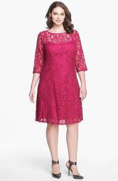 Adrianna Papell Lace Fit & Flare Dress (Plus Size)   Nordstrom