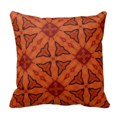 Red leaf and square pattern pillows