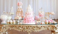 Elizabeth's Cake Emporium's Marie Antoinette dessert table featured on the Wedluxe blog