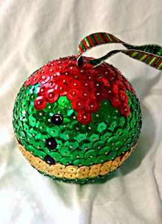 Sequin Christmas Ornament, Green and red Elf ornament, Christmas Tree decoration, Holiday decoration - deal quotes Sequin Ornaments, Beaded Christmas Ornaments, Personalized Christmas Ornaments, Handmade Ornaments, Handmade Christmas, Christmas Crafts, Elf Decorations, Homemade Christmas Decorations, Sequin Crafts